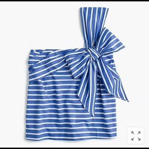 Jcrew One-shoulder bow top in stripe